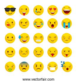 emoticon faces gestures bundle icons