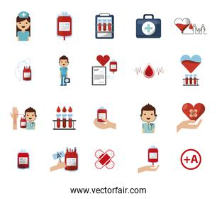 donation blood and cardiology icons pack