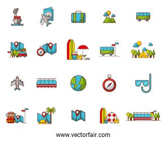 bundle of travel vacations holidays icons