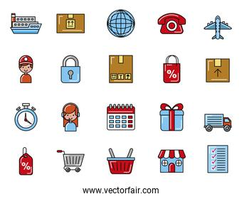bundle of delivery service set icons