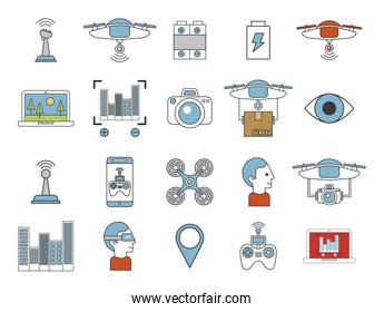 bundle of drone technology icons
