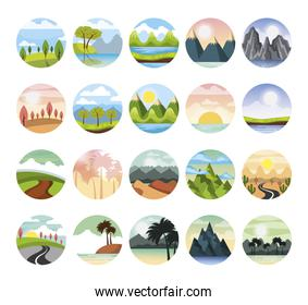 set of weather and landscapes scenes