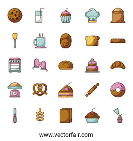 bundle of pastry bakery icons