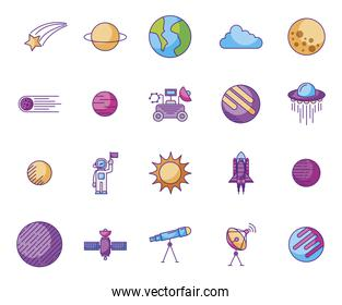 bundle of planets and space icons