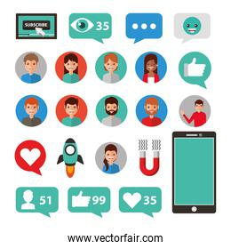 Social media and multimedia icon set design