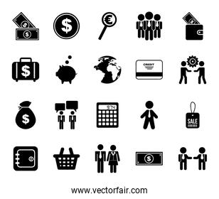 Isolated work and buisness icon set vector design