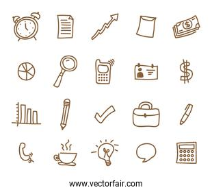 Variety icon set pack vector design