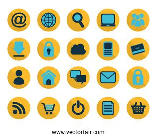 Isolated social media icon set design