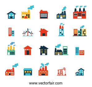 Factory and industry icon set vector design