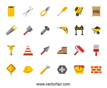 Isolated construction icon set vector design