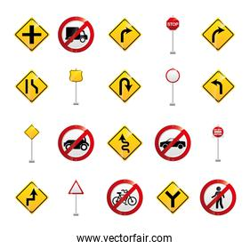 Isolated road sign icon set vector design