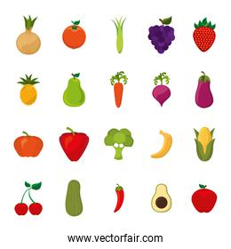 Isolated fruits and vegetables icon set vector design