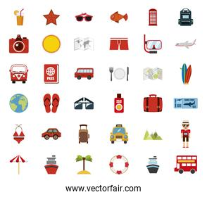 Isolated travel icon set vector design
