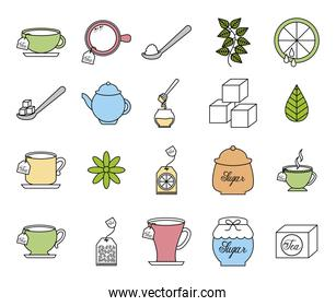 Isolated tea icon set vector design