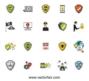 Security system icon set vector design