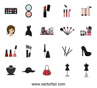 Isolated make up icon set vector design