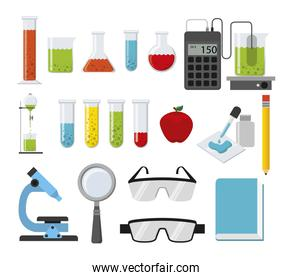 Chemistry icon set vector design