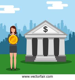business woman holding big coin money at bank city