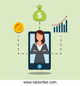 smartphone with business woman on display financial bank