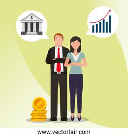 business people worker financial economy money