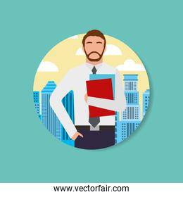 businessman worker man character and urban background