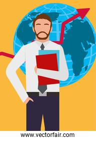 businessman standing with globe map and growth arrow