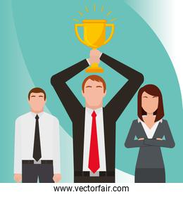business people holding trophy success