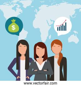 businesswomen talking bank money and map global background