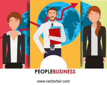 people business banner man and women map and arrow financial