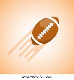 american football ball flying blurred color background