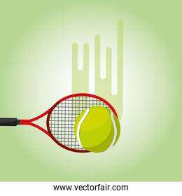 tennis racket and ball blurred color background