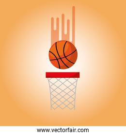 basketball hoop and ball blurred color background