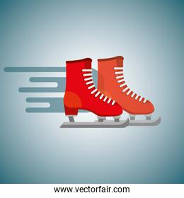 red pair ice skate blurred color background