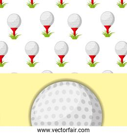 golf ball on tee and grass sport competition pattern