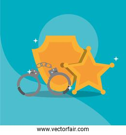 police handcuffs star sheriff and badge insignia