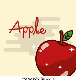 apple fruit delicious shiny poster