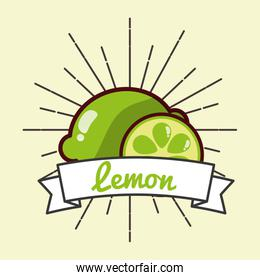 whole and slice lemon fruit organic vitamins emblem