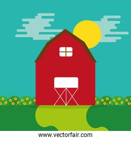 cartoon farm wooden barn garden flower and sun
