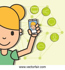 happy girl with smartphone in hand boy talk social media