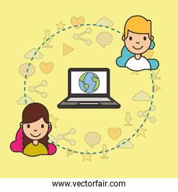 smiling teeenagers with laptop with world on screen connected social media