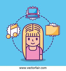 cartoon young girl and social media icons