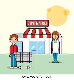 saleswoman and customer man front supermarket with shopping cart