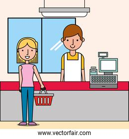 cashier next cash register and woman customer holds shopping basket