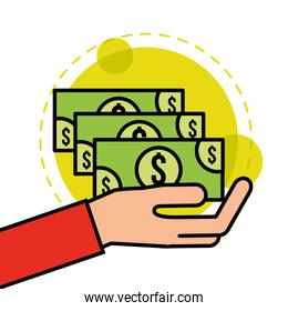 hand holds banknotes money cash