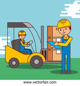 cartoon men worker delivery logistic forklift and packages