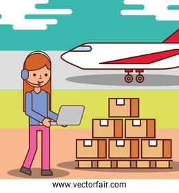 woman cartoon operator logistic cardboard boxes and plane transport
