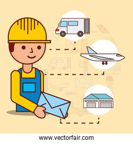delivery man holding envelope mail van plane and warehouse