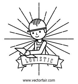 logistic man worker holds clipboard emblem style