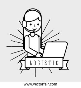 logistic woman operator logistic headset and laptop emblem style