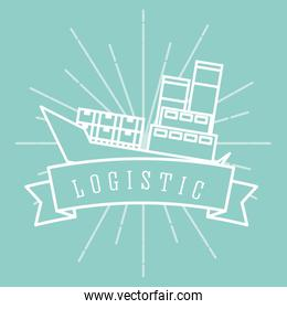 logistic cargo ship container emblem style